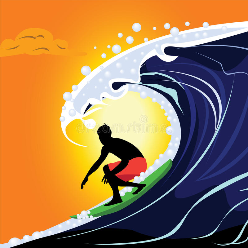 surfer illustration stock