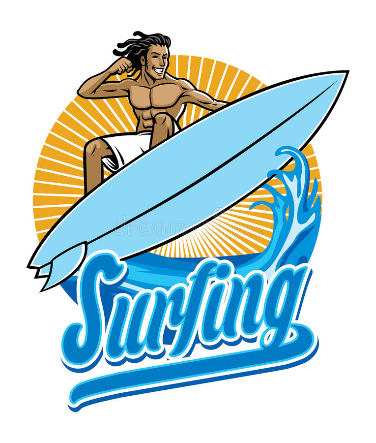 Surfer in actie vector illustratie