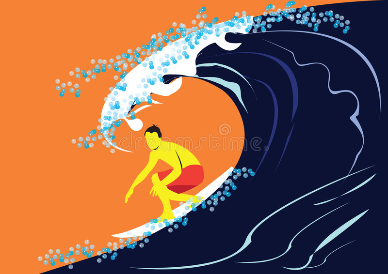 Surfer in action. Vector illustration of a surfer on the wave royalty free illustration