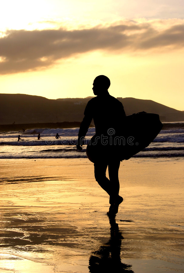 Surfer atSunset royalty free stock photo