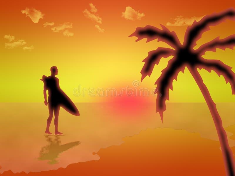 Surfer auf dem Strand an der Dämmerung lizenzfreie abbildung