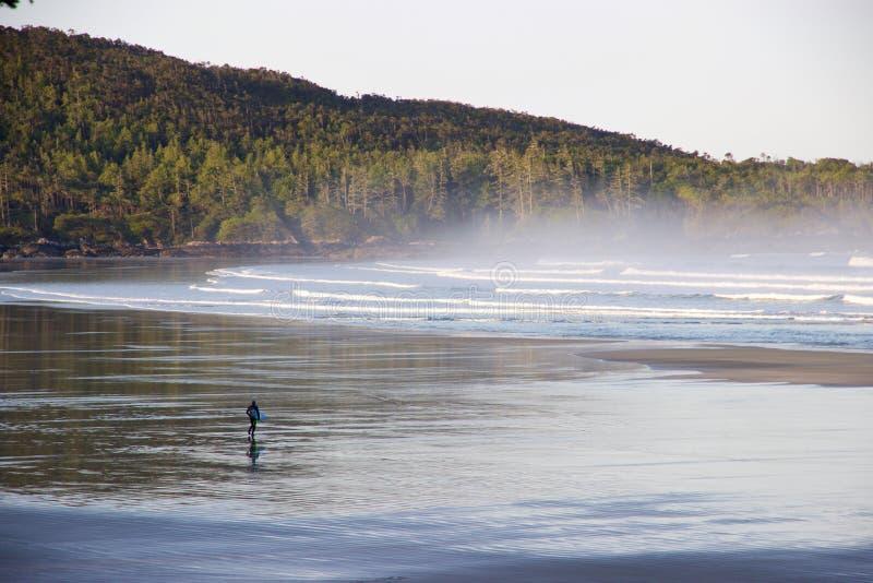 Surfer auf nebelhafter Cox-Bucht, Tofino, Britisch-Columbia, Kanada stockfotos