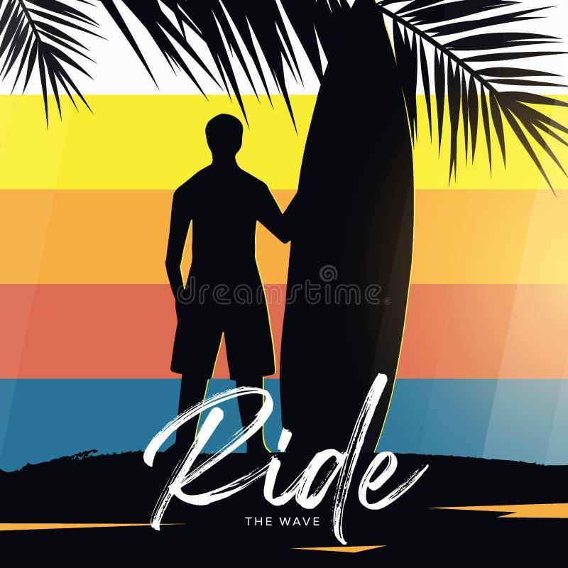 Surfer avec la planche de surf sur le fond coloré de gradient avec des palmettes illustration de vecteur