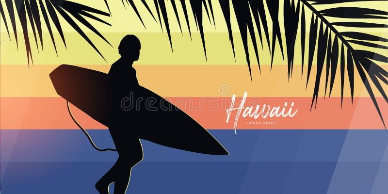 Surfer avec la planche de surf sur le fond coloré de gradient avec des palmettes illustration libre de droits