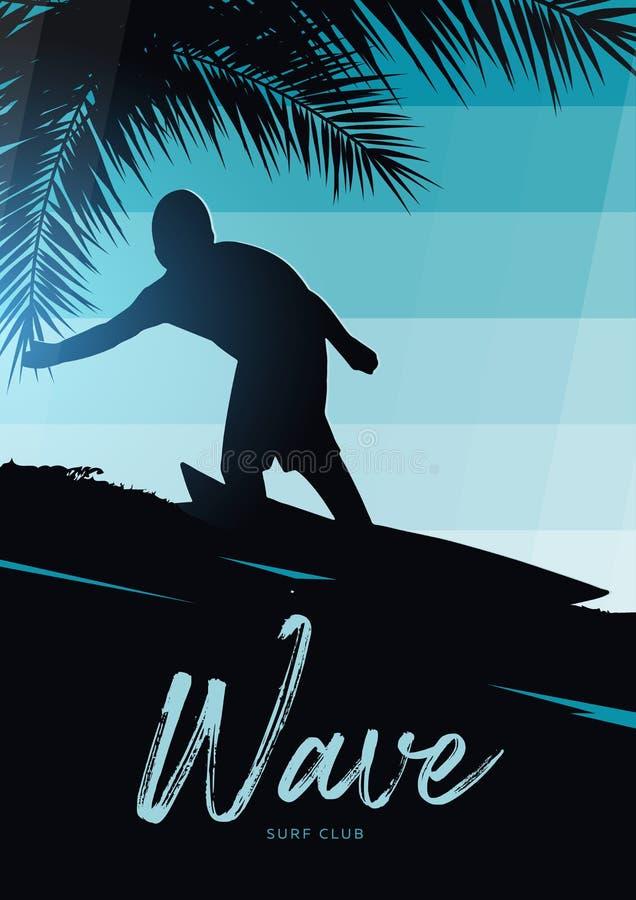 Surfer avec la planche de surf sur le fond coloré de gradient avec des palmettes illustration stock