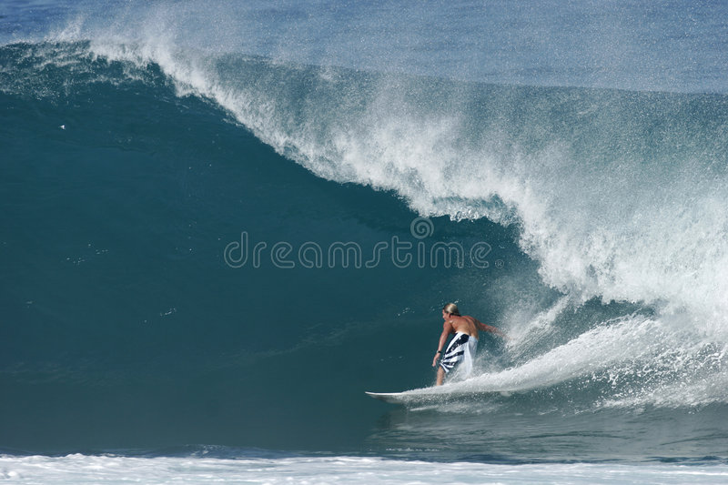 Surfer at Backdoor Pipeline stock photography