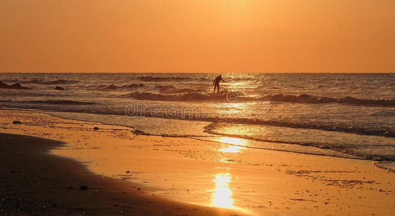 Surfer bij zonsopgang stock afbeeldingen