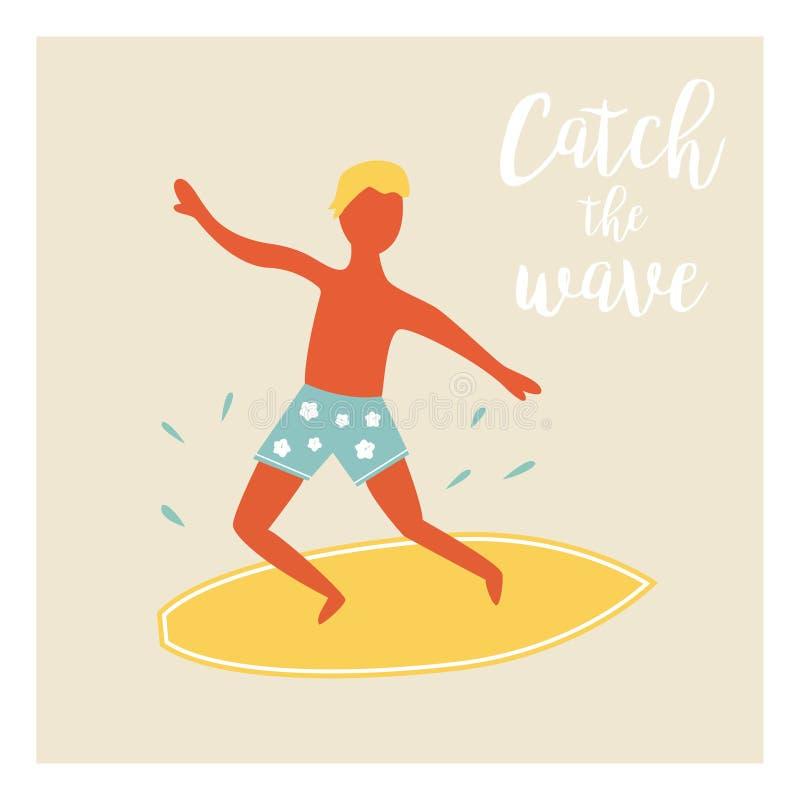 Surfer boy catching the wave vintage poster vector illustration