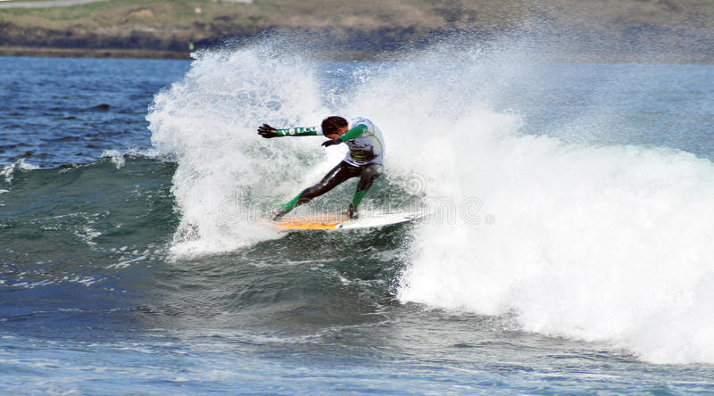 Surfer dancing on a wave. At the weekend the O'Neill Cold Water Classic took place in East Thurso, Caithness, Scotland. The winner of the Event was Brent royalty free stock image