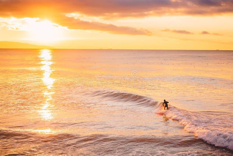 Surfer dans l'océan au coucher du soleil ou au lever de soleil lumineux Hiver surfant en mer images libres de droits