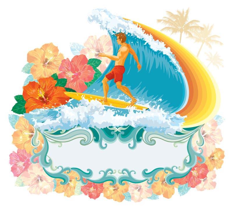 Surfer dans l'onde illustration de vecteur