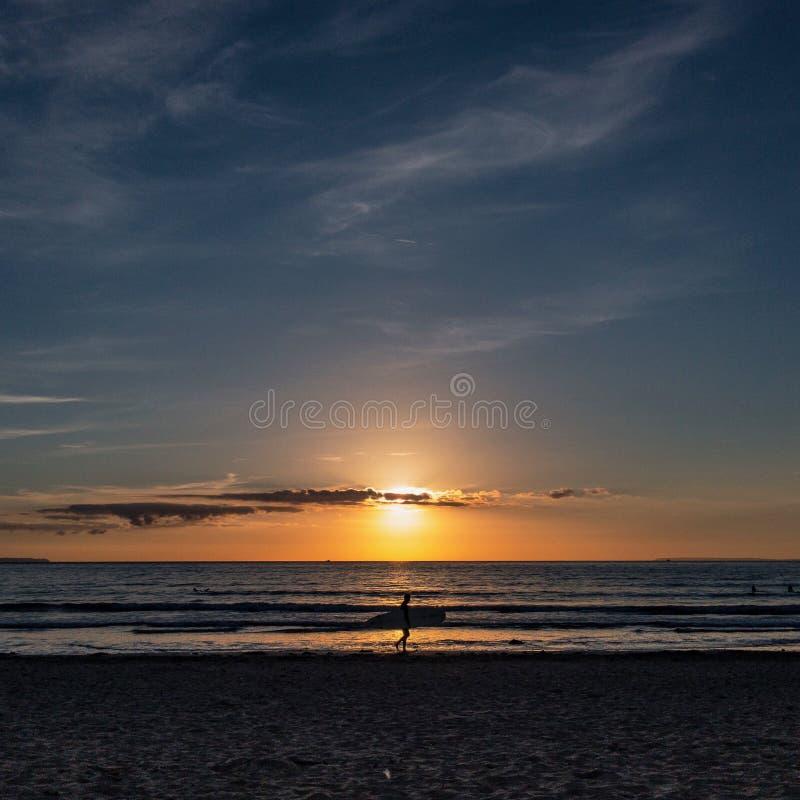 Surfer dans le coucher du soleil photo stock