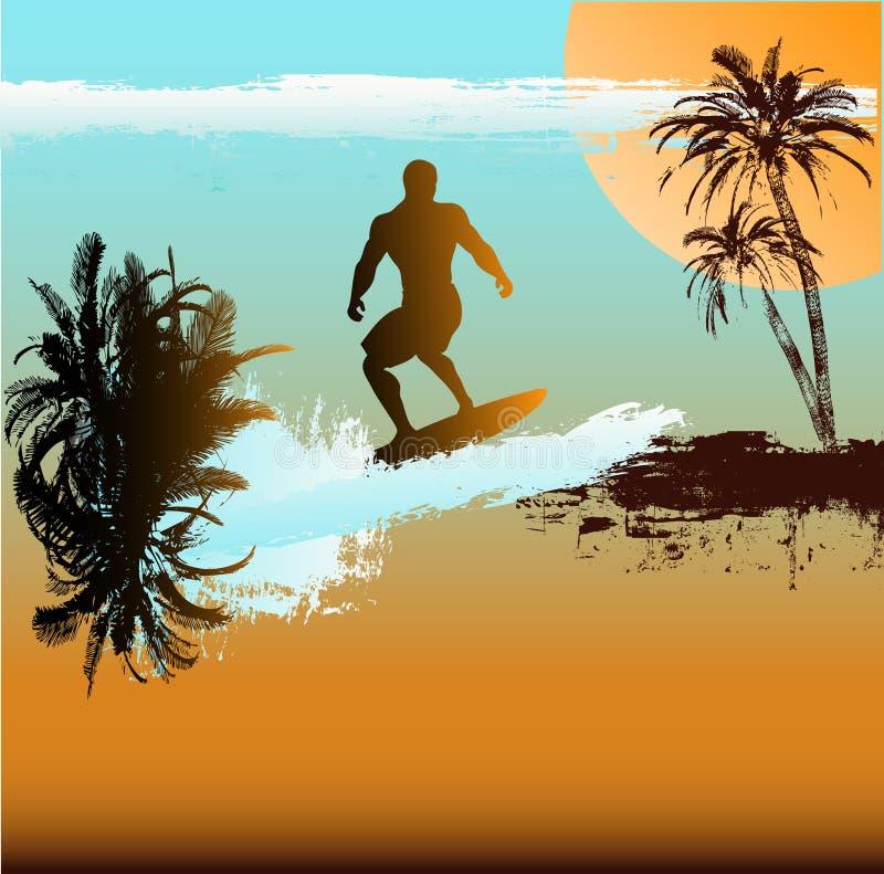 surfer de fond illustration stock