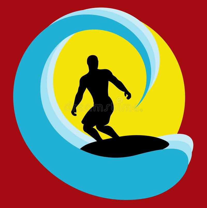 surfer de fond illustration de vecteur