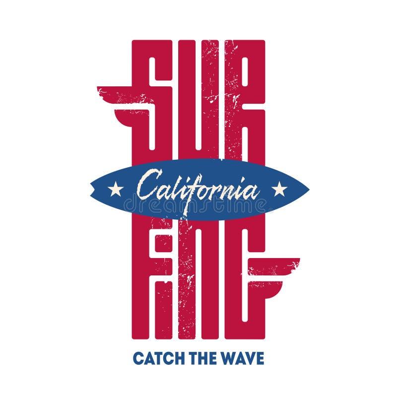 Surfer de la Californie - graphiques originaux de tee-shirt, vecteur T-shir illustration de vecteur