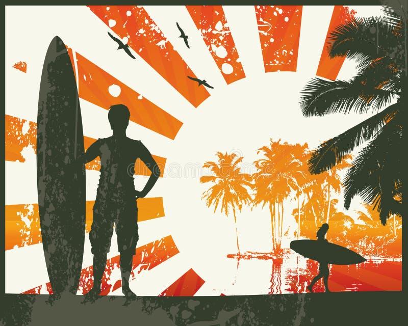 Surfer de plage d'été illustration stock