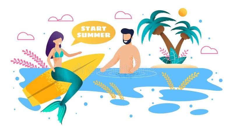 Surfer de sirène et bain d'homme dans la bande dessinée plate de mer illustration stock