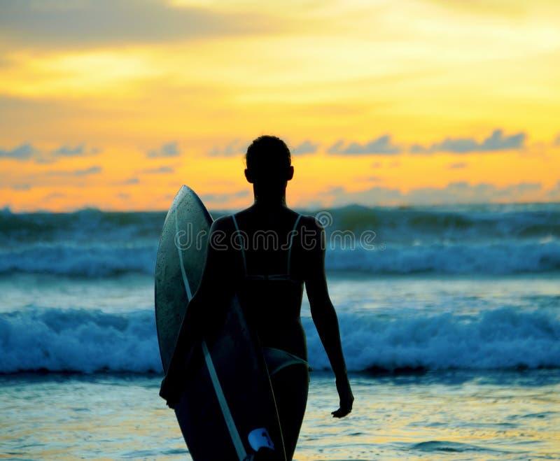 Surfer der jungen Frau mit Brett lizenzfreie stockfotografie