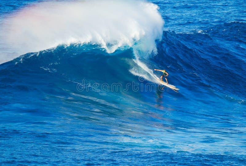 Surfer die reuzegolf berijden royalty-vrije stock foto's
