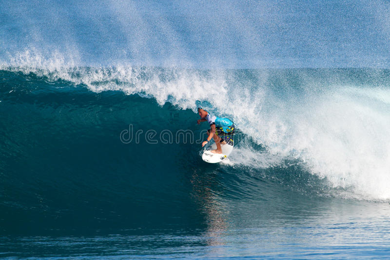 Surfer Dusty Payne Surfing in the Pipeline Masters royalty free stock image