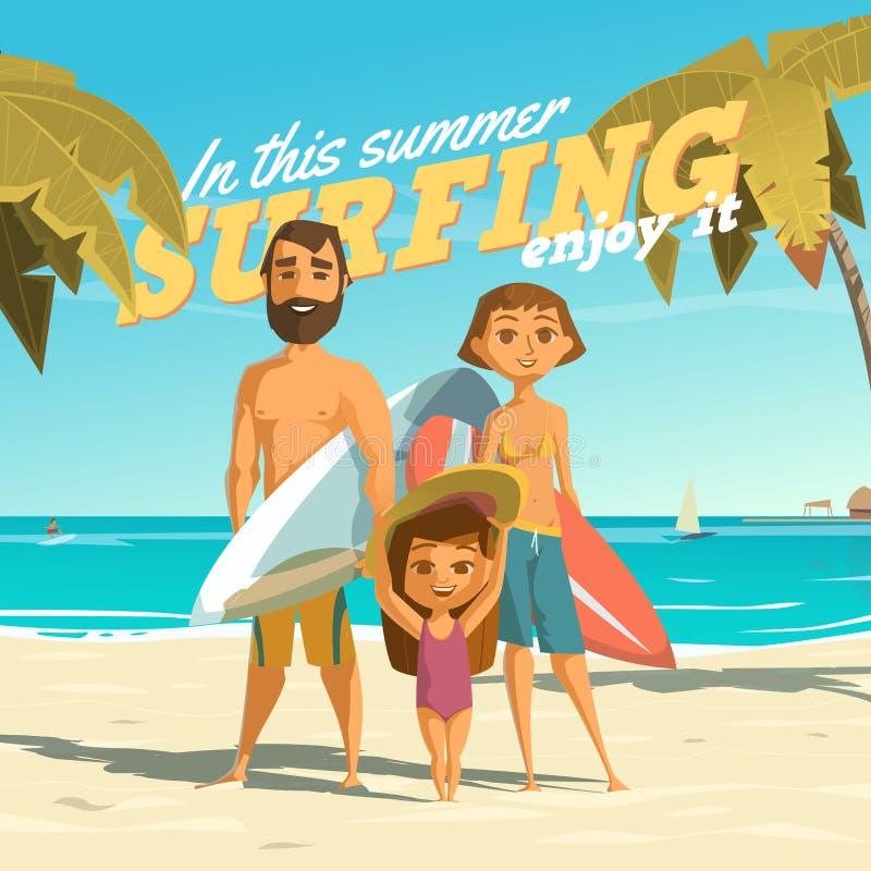 Surfer en cet été Appréciez-le illustration libre de droits