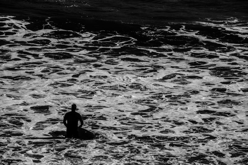 Surfer en mer photo libre de droits