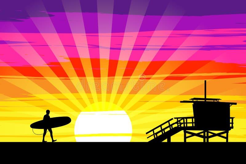 Surfer entrant dans le coucher du soleil sur la plage de Venise, Los Angeles, calorie illustration de vecteur