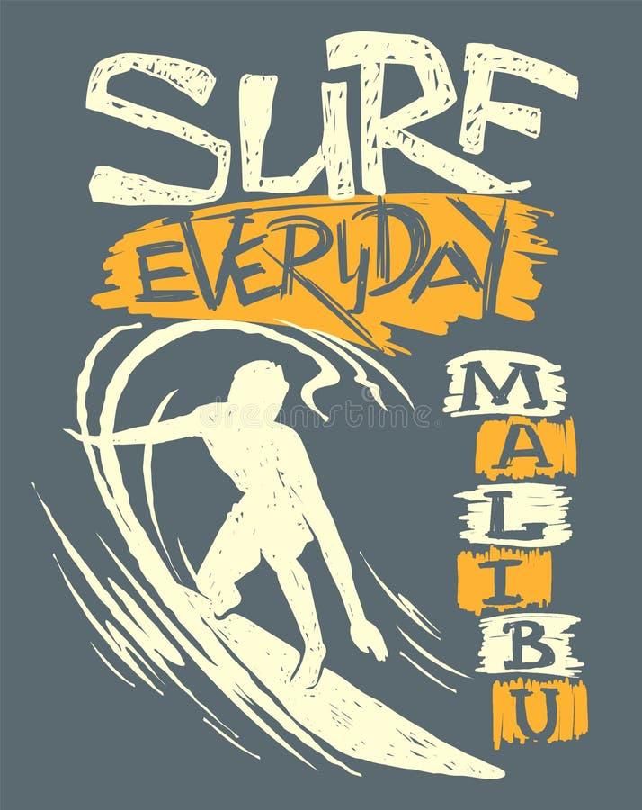Surfer et grande vague Conception de T-shirt illustration libre de droits