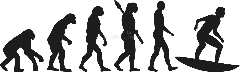 Surfer evolution vector illustration