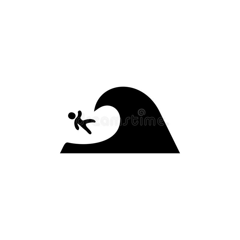 Surfer falls from the wave icon. Beach holidays simple icon. Travel element icon. Premium quality graphic design. Signs, outline s. Ymbols collection icon for royalty free illustration