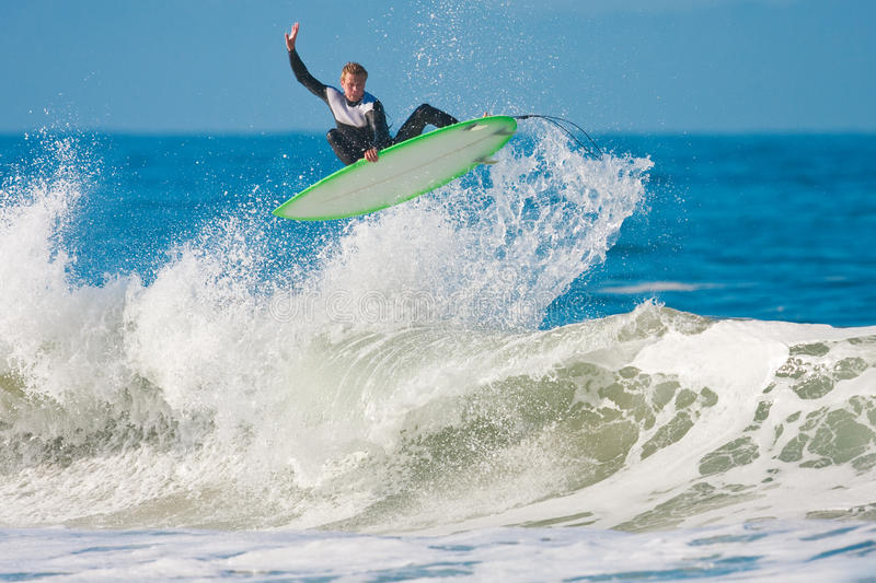 Surfer gets Big Air stock image