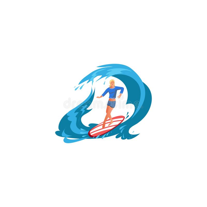 Surfer girl in action. Raster illustration in flat cartoon style. Young surf girl with surfboard riding on the wave. Surfer in action. Isolated raster icon stock illustration