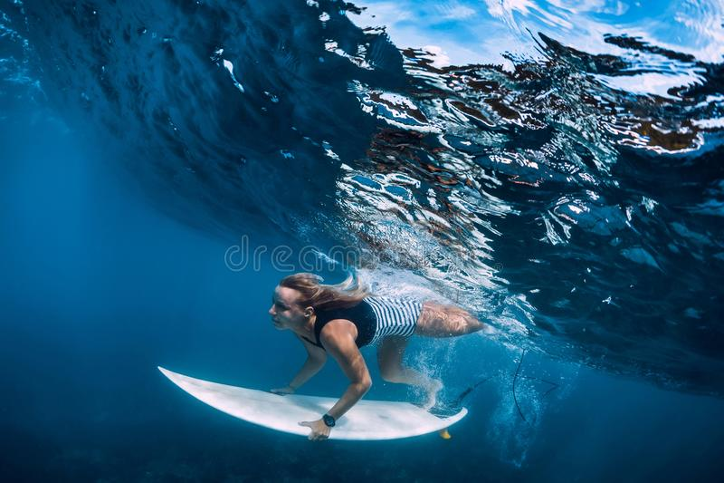 Surfer girl dive underwater. Surfer dive under big wave royalty free stock images