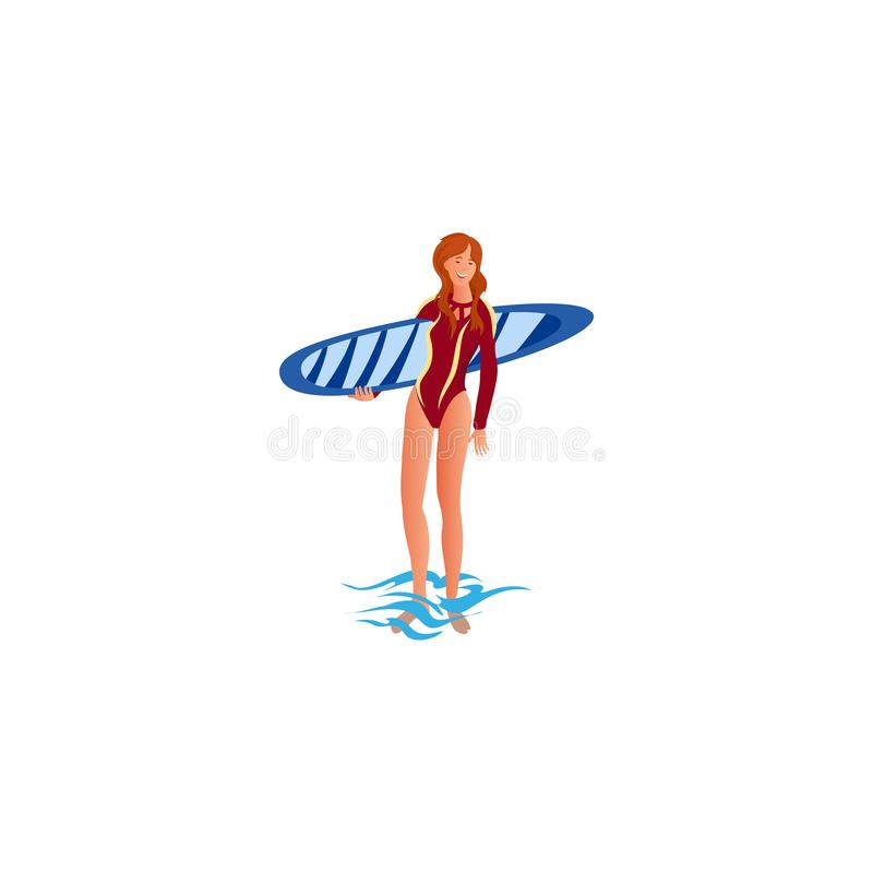 Surfer girl. Raster illustration in flat cartoon style. Cute surfer girl holds surfboard standing in water. Young surfer in a red bathing suit. Isolated raster stock illustration