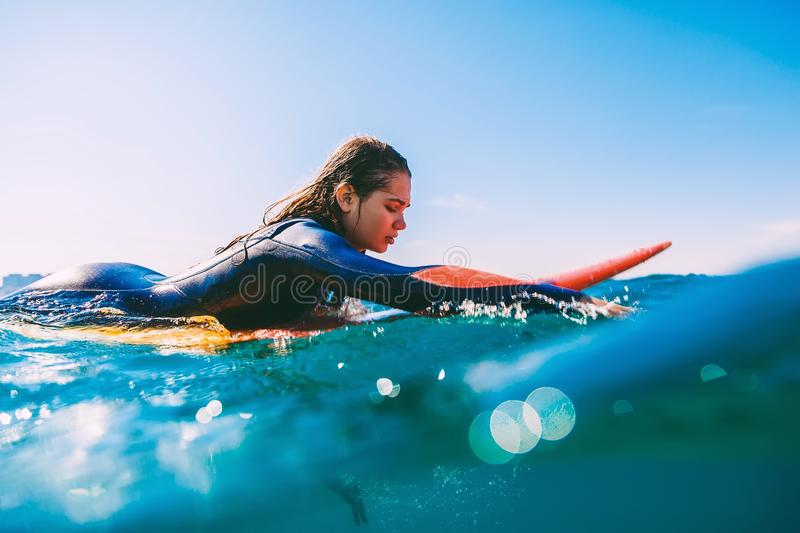 Surfer girl on surfboard. Young woman in ocean during surfing. royalty free stock image
