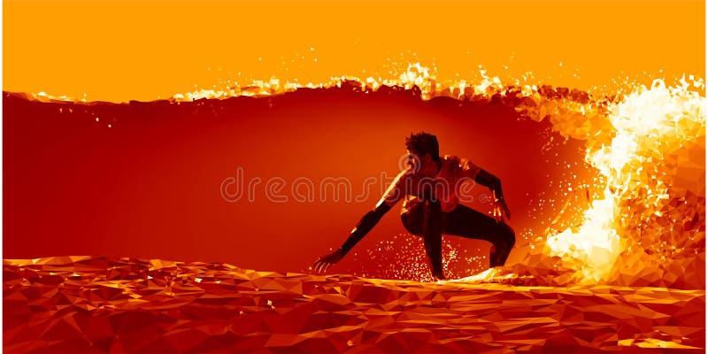 Surfer glissant sur la vague au bas de coucher du soleil poly images libres de droits