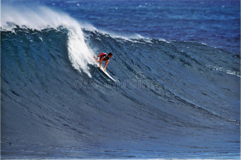Surfer Ian Walsh Surfing Pipeline In Hawaii Editorial Image