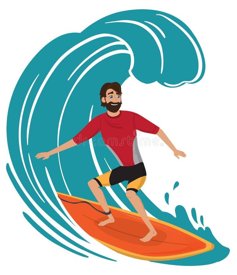 Surfer im Wetsuit mit Surfbrettstellung und -reiten stock abbildung
