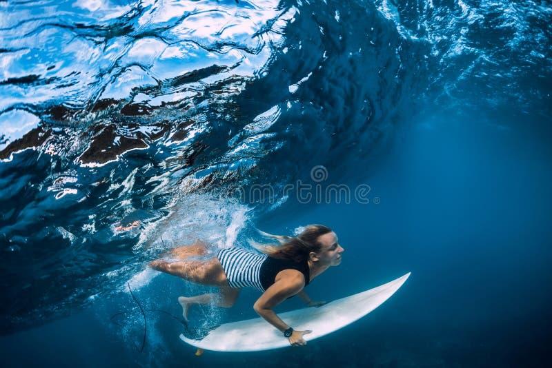 Surfer make duck dive underwater. Surfgirl dive under wave. Surfer make duck dive underwater. Surfgirl dive under big wave stock photos