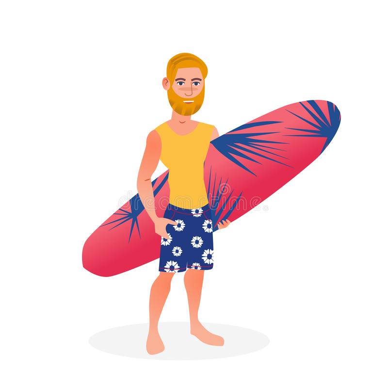 Surfer man with surfboard on the white background. Isolated vector flat cartoon character illustration. Summer holiday vector illustration