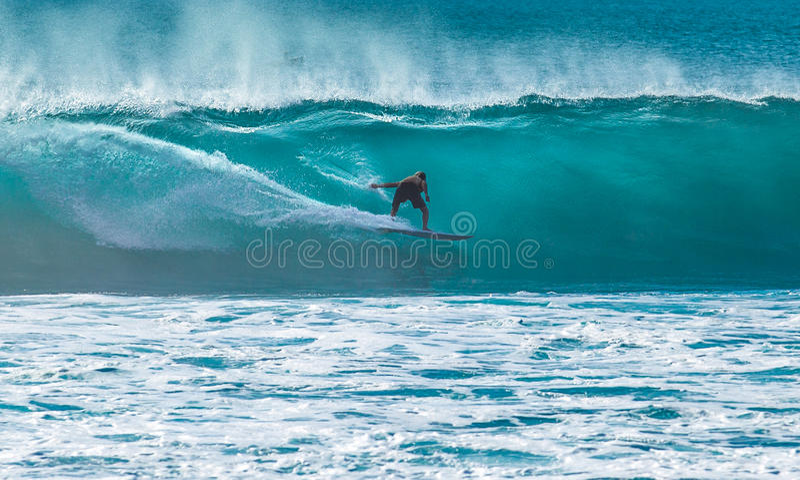Surfer montant la grande vague photographie stock libre de droits