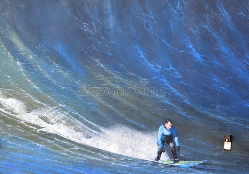 Surfer mural illustration stock