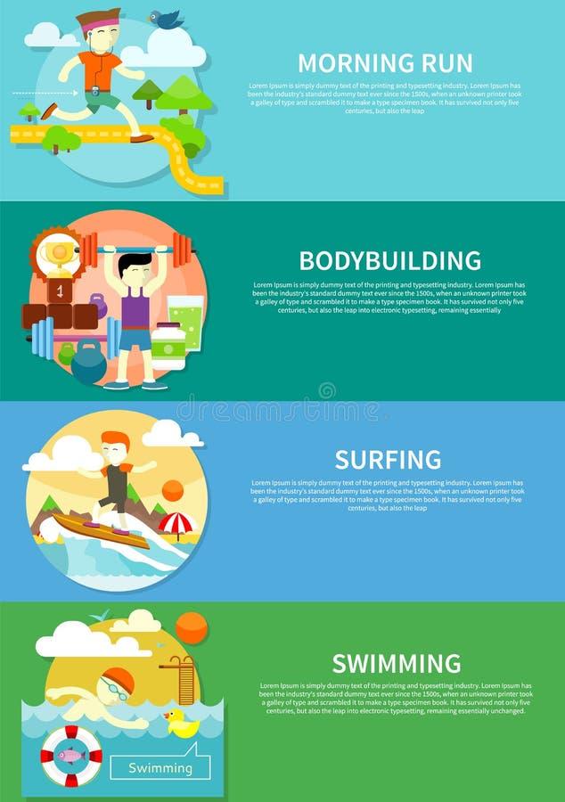 Surfer, nageant, fonctionnent et bodybuilding illustration de vecteur