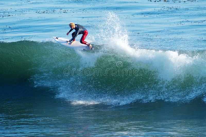 Surfer Nat Young Surfing in Santa Cruz, California. Professional Surfer, Nat Young surfing in Santa Cruz, California royalty free stock photos