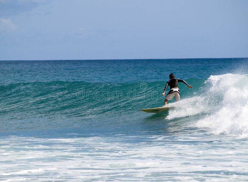 Surfer in the ocean. Surfer rides the wave in the ocean royalty free stock images