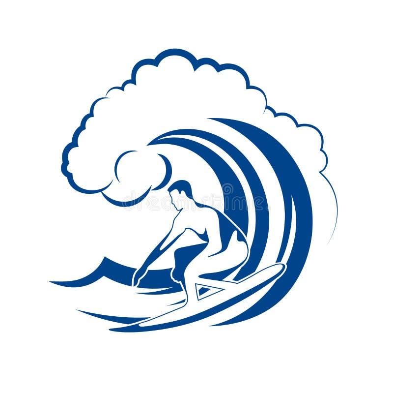 Surfer op een golf stock illustratie