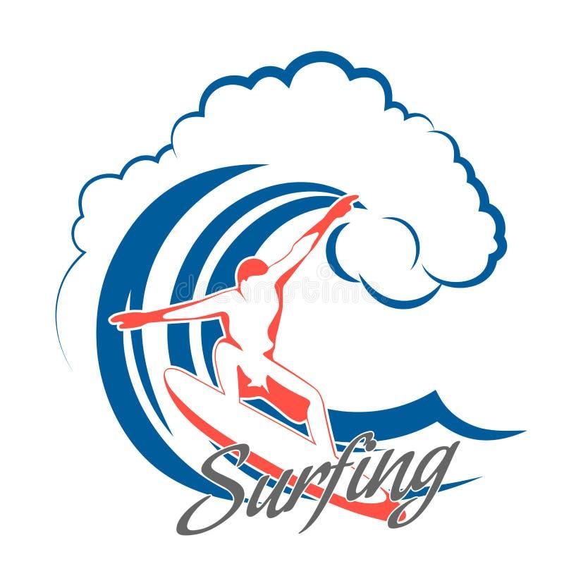 Surfer op een golf vector illustratie