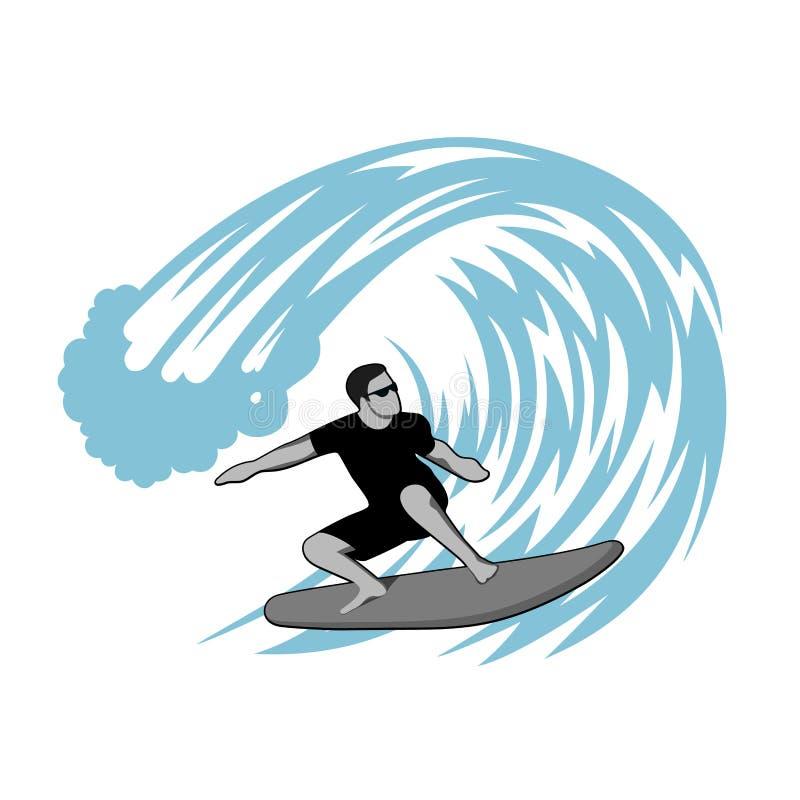 Surfer op golfillustratie royalty-vrije illustratie