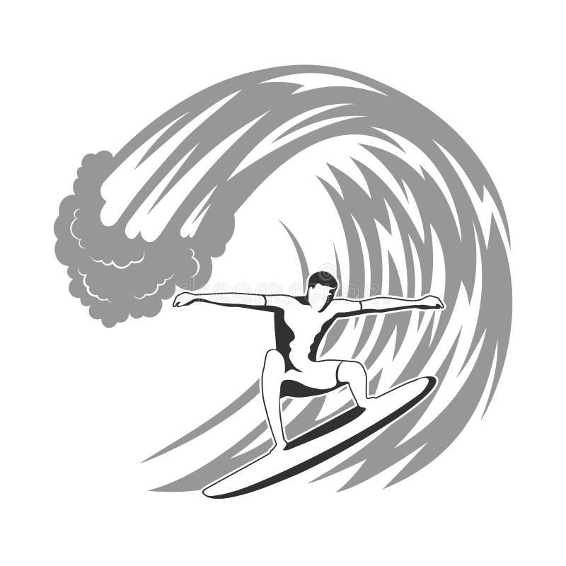 Surfer op golfillustratie stock illustratie
