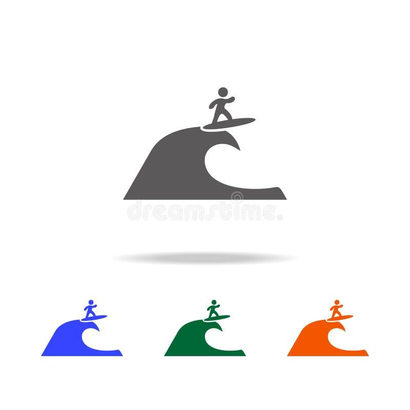 Surfer op het golfpictogram Element van de multi gekleurde pictogrammen van de Strandvakantie voor mobiel concept en Web apps Dun stock illustratie